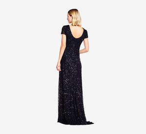 Scoop Back Sequin Gown In Black