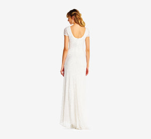 Petite Scoop Back Sequin Gown In Ivory