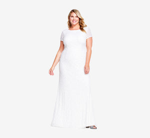 Plus Size Scoop Back Sequin Gown In Ivory