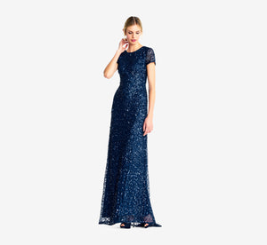 Scoop Back Sequin Gown In Deep Blue