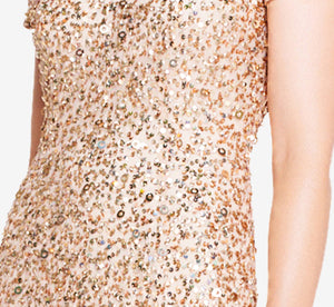 Petite Scoop Back Sequin Gown In Champagne Gold