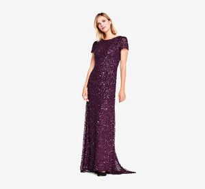 Petite Scoop Back Sequin Gown In Cabernet