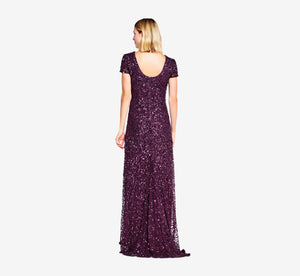 Scoop Back Sequin Gown In Cabernet