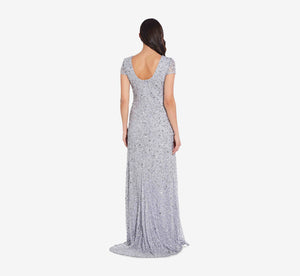 Scoop Back Sequin Gown In Glacier