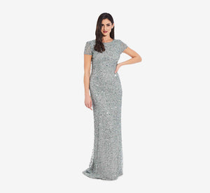 Scoop Back Sequin Gown In Frosted Sage