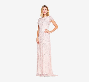 Petite Scoop Back Sequin Gown In Blush