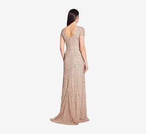 Petite Scoop Back Sequin Gown In Champagne