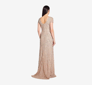 Scoop Back Sequin Gown In Champagne
