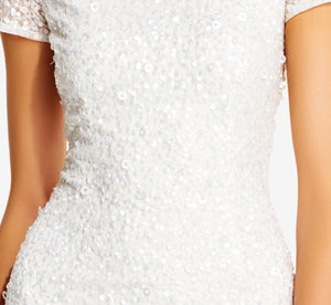 Scoop Back Sequin Gown In Ivory