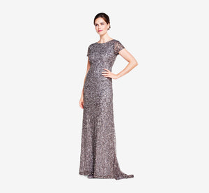 Petite Scoop Back Sequin Gown In Lead