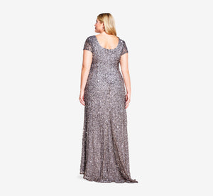 Plus Size Scoop Back Sequin Gown In Lead