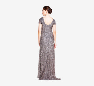 Scoop Back Sequin Gown In Lead