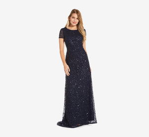 Petite Scoop Back Sequin Gown In Navy