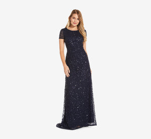 Scoop Back Sequin Gown In Navy
