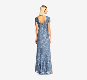 Scoop Back Sequin Gown In Nile