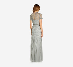 Cap Sleeve Beaded Gown In Blue Mist