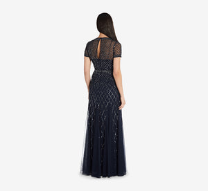 Cap Sleeve Beaded Gown In Navy