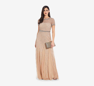Cap Sleeve Beaded Gown In Champagne
