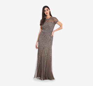 Cap Sleeve Beaded Gown In Lead