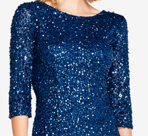 Scoop Back Sequin Gown With Three Quarter Sleeves In Deep Blue
