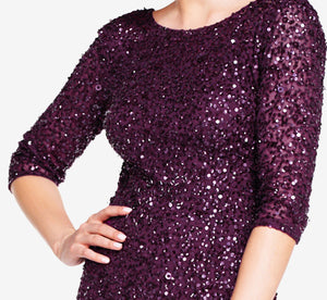 Scoop Back Sequin Gown With Three Quarter Sleeves In Cabernet