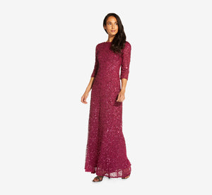 Scoop Back Sequin Gown With Three Quarter Sleeves In Burgundy Glow