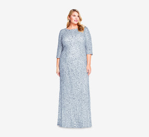 Plus Size Scoop Back Sequin Gown With Three Quarter Sleeves In Blue Heather