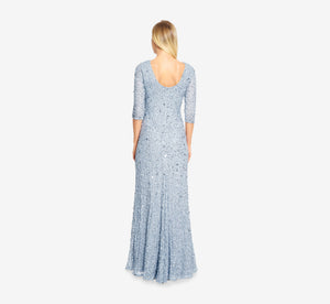 Scoop Back Sequin Gown With Three Quarter Sleeves In Blue Heather