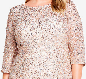 Plus Size Scoop Back Sequin Gown With Three Quarter Sleeves In Champagne Silver