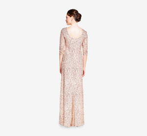 Scoop Back Sequin Gown With Three Quarter Sleeves In Champagne Silver