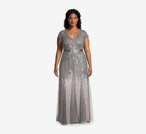 Plus Size Beaded V-Neck Gown In Pewter Silver