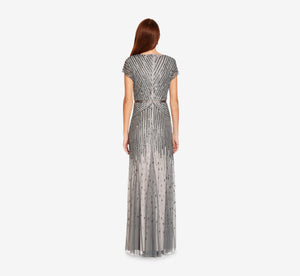 Beaded V-Neck Gown In Pewter Silver