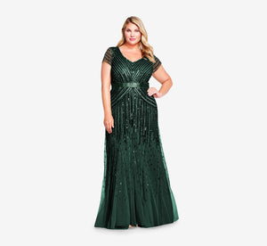 Plus Size Beaded V-Neck Gown In Dusty Emerald