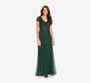 Beaded V-Neck Gown In Dusty Emerald
