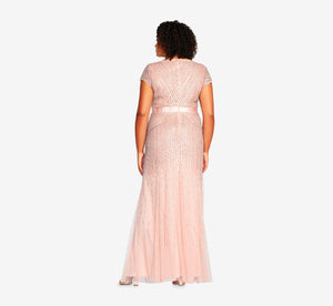 Plus Size Beaded V-Neck Gown In Blush