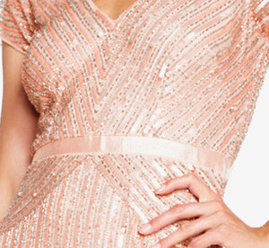 Beaded V-Neck Gown In Blush