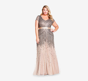 Plus Size Beaded V-Neck Gown In Nude