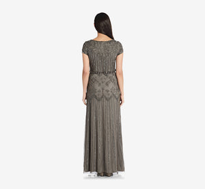 Short Sleeve Blouson Beaded Gown In Lead