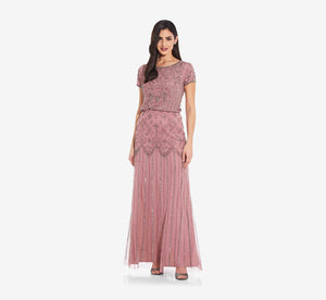 Short Sleeve Blouson Beaded Gown In Rose Mercury