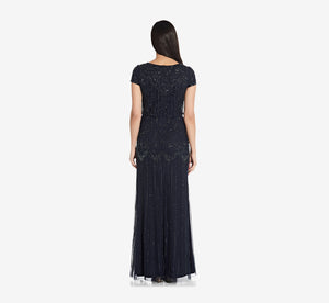 Short Sleeve Blouson Beaded Gown In Navy