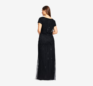 Plus Size Short Sleeve Blouson Beaded Gown In Black