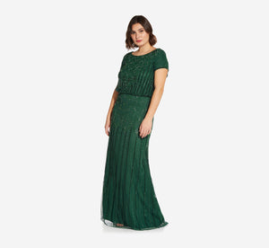 Plus Size Short Sleeve Blouson Beaded Gown In Dusty Emerald