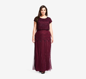 Plus Size Short Sleeve Blouson Beaded Gown In Cassis