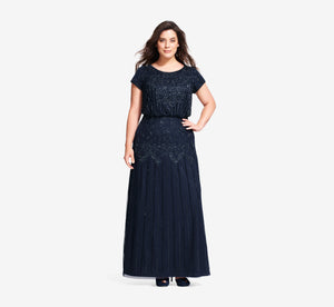 Plus Size Short Sleeve Blouson Beaded Gown In Navy