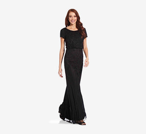 Short Sleeve Blouson Beaded Gown In Black