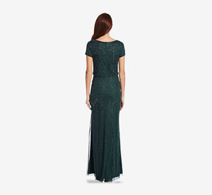 Short Sleeve Blouson Beaded Gown In Dusty Emerald