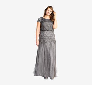Plus Size Short Sleeve Blouson Beaded Gown In Lead