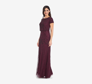 Short Sleeve Blouson Beaded Gown In Cassis