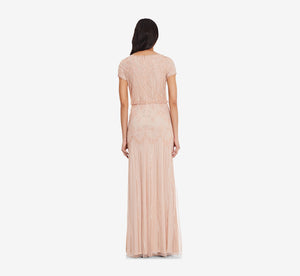 Short Sleeve Blouson Beaded Gown In Blush
