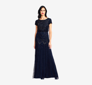 Petite Short Sleeve Blouson Beaded Gown In Navy
